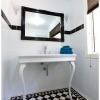 Tallowood Lane Cashmere ensuite white console black frame mirror