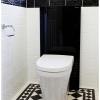 Close up toilet suite subway tiles black feature tiles traditional floor tiles