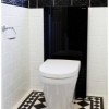 Close up toilet suite subway tiles black feature tiles traditional floor tiles