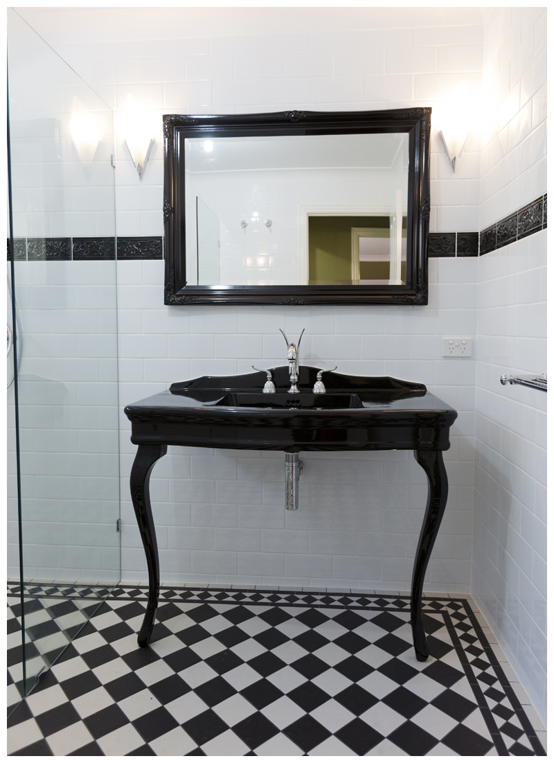 Tallowood Lane Cashmere black console swan lever tapware traditional tiles