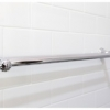 Close up traditional towel rail subway wall tiles Cashmere ensuite