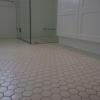 Close up mosaic hexagon floor tiles