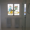 Stained glass window, frameless shower screen, concealed laundry