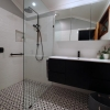1 Wide angle small bathroom renovation open shower pattern floor tiles subway wall tiles