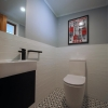 7 Portrait water closet powder room black vanity subway wall tiles pattern floor tiles