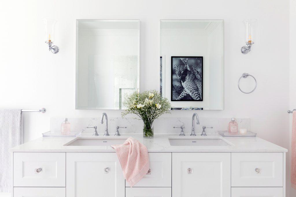 Clayfield bathroom ensuite custom double bowl vanity Brodware Kristall lever tapware mirror