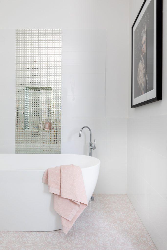 Clayfield bathroom ensuite free standing bath glass mosaic feature tiles niche Brodware gooseneck bath mixer