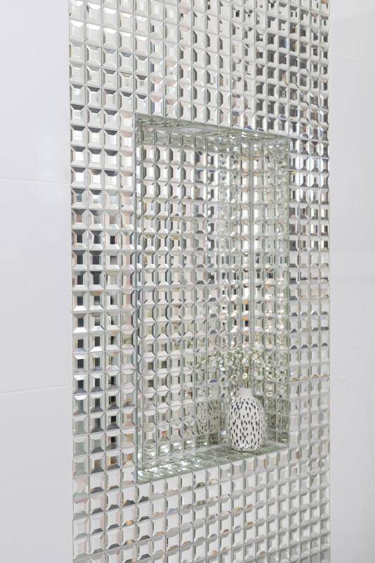 Clayfield bathroom ensuite glass mirror tile feature strip niche LED downlight