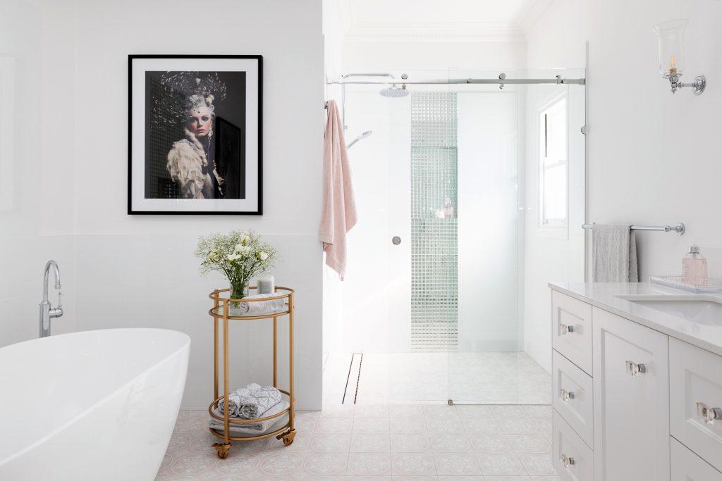 Clayfield bathroom ensuite landscape pink floor tiles vanity marble free standing bath walk in shower