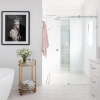 Clayfield bathroom ensuite landscape pink floor tiles vanity marble free standing bath walk in shower