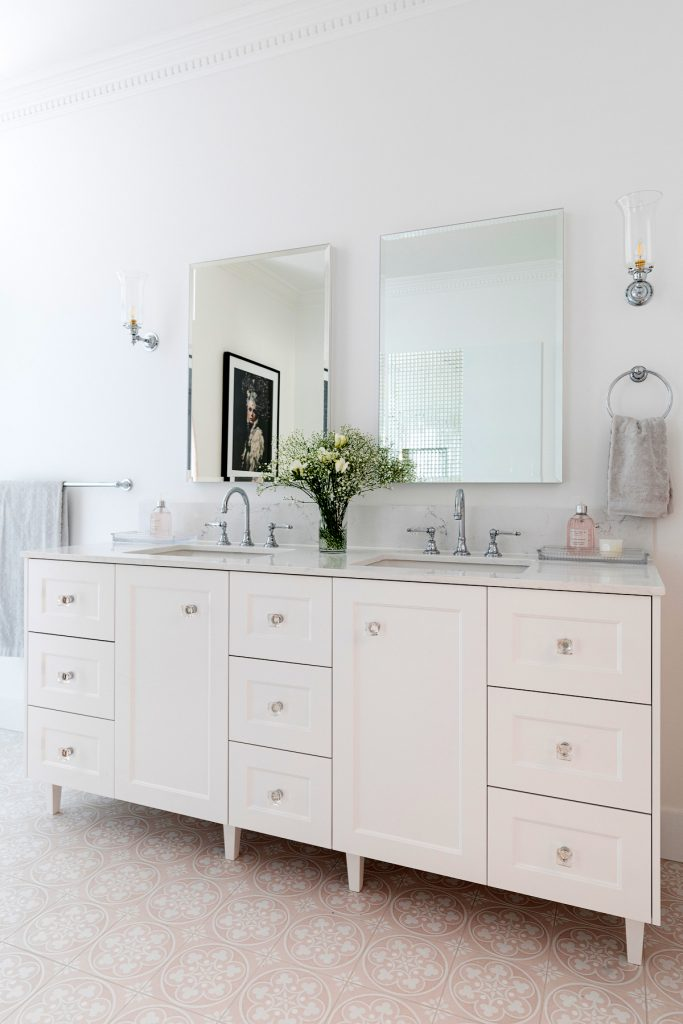 Clayfield bathroom ensuite portrait custom vanity double bowl mirror Brodware Kristall lever tapware
