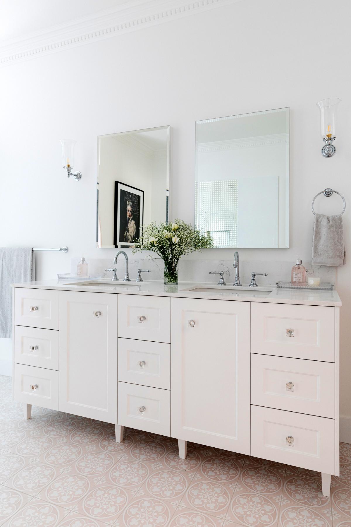 Clayfield bathroom ensuite portrait custom vanity double bowl mirror Brodware Kristall lever tapware