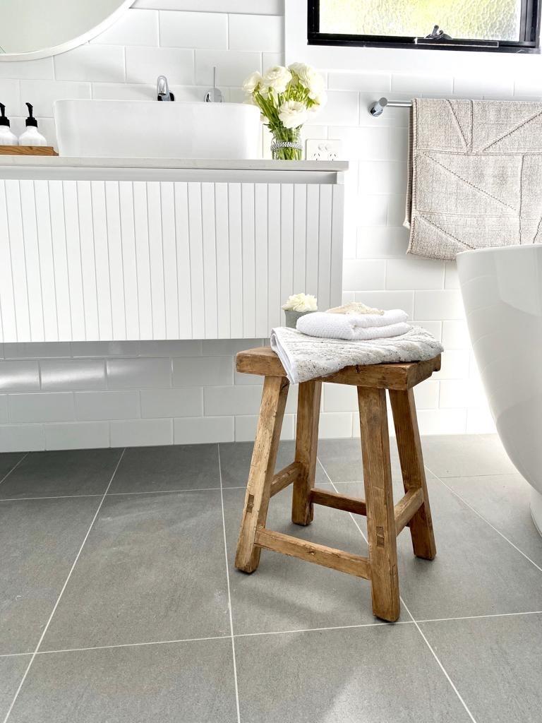Bardon bathroom grey floor tiles free-standing bath custom vanity