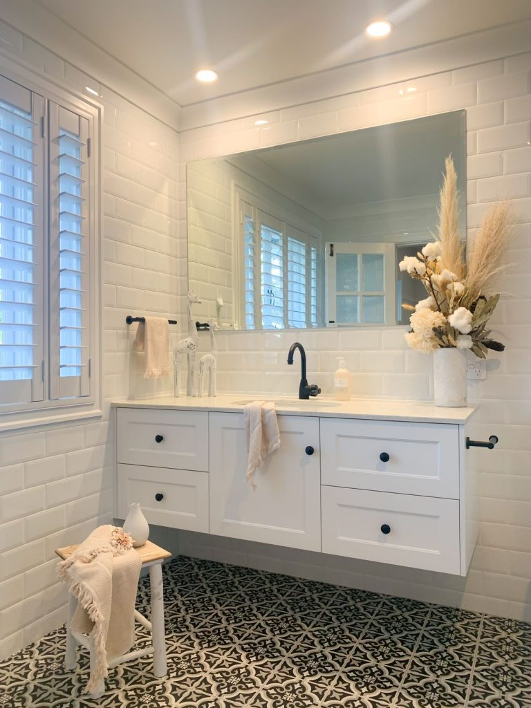 ascot ensuite vanity black and white floor tiles white wall tiles