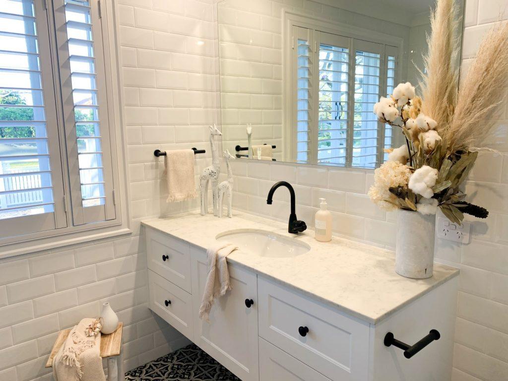ascot ensuite vanity white wall tiles black tapware