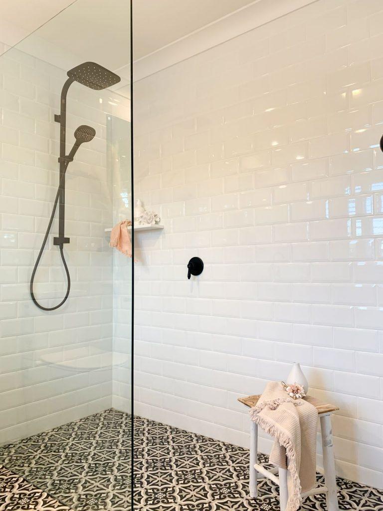 ascot ensuite rain shower shower screen black and white floor tiles white wall tiles