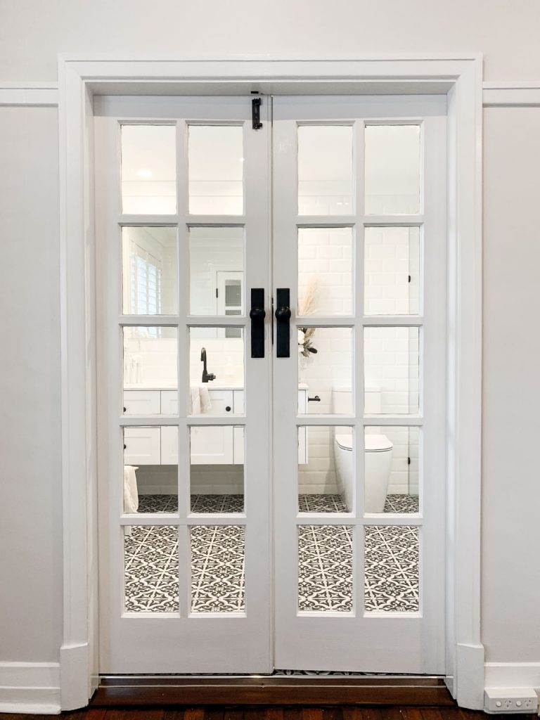 ascot ensuite french doors black and white floor tiles