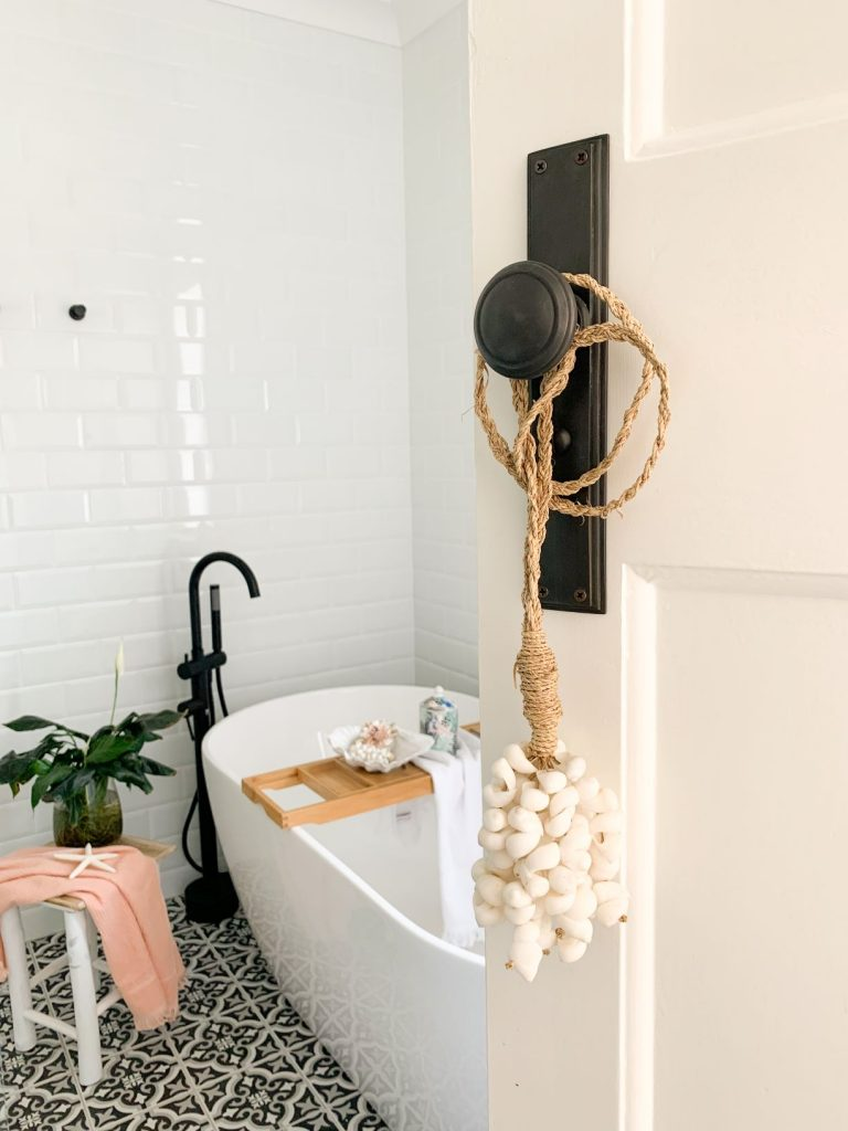 ascot main bathroom free standing bath black and white floor tiles white wall tiles