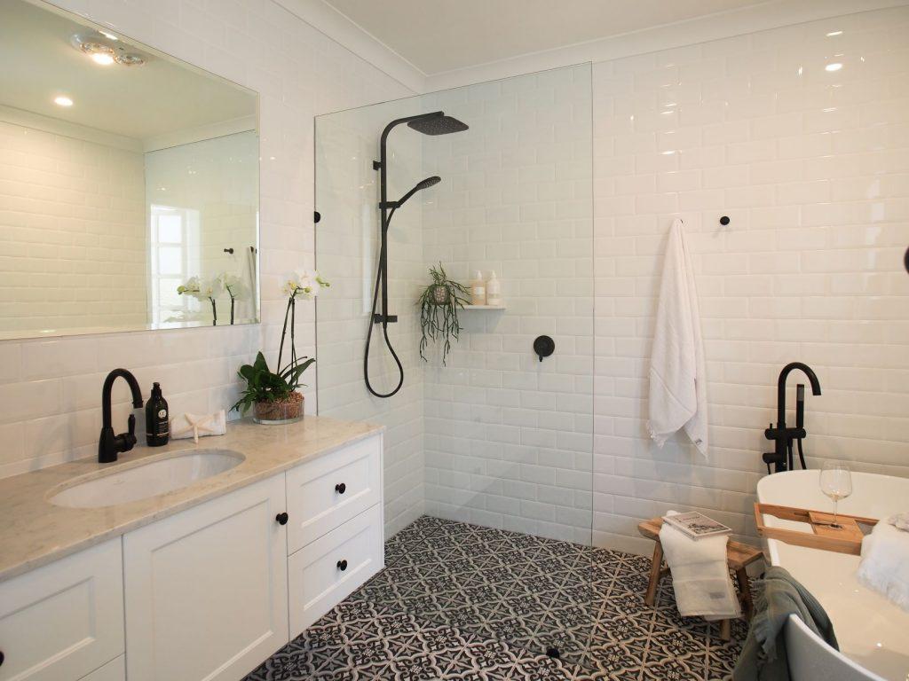 ascot main bathroom rain shower shower screen free standing bath black and white floor tiles vanity